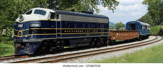 Historic Potomac Eagle diesel locomotive  on the Baltimore and Ohio railroad. 10th September 2018.