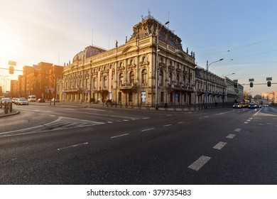 Historic Poznanski Palace, Lodz, Poland, Europe on the sunset.