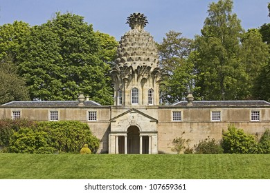 Historic property shaped like a pineapple in Dunmore, Scotland, UK.