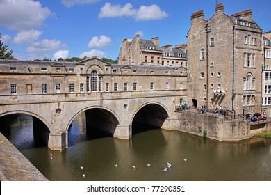 Historic Pulteney Bridge over the River Avon in Bath City in England