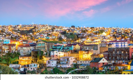 The historic quarter of Valparaiso in Chile at night