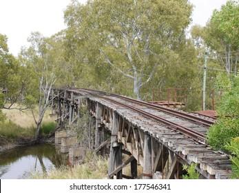 The historic rail bridge over Murrumbidgee River and the floodplain in Gundagai in Australia