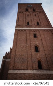 Historic red brick tower, old town, mazuran