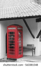 Historic red telephonebooth at Caldey Island