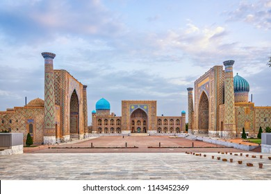 Historic Registan square with three madrasahs: Ulugh Beg, Tilya-Kori and Sher-Dor, Samarkend, Uzbekistan