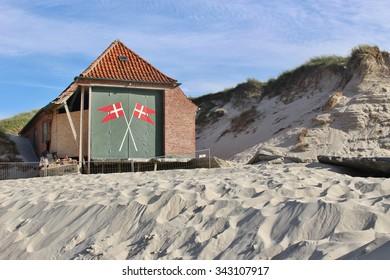 Historic rescue house on the beach of Lokken, Denmark.