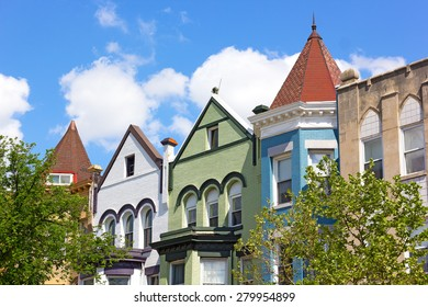 Historic residential architecture of Washington DC. Colorful row houses in Washington DC, USA