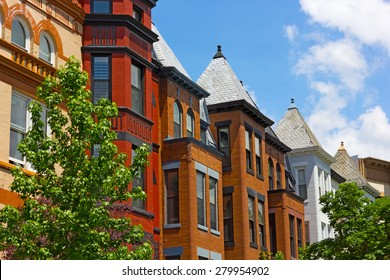 Historic residential architecture of Washington DC. Colorful Dupont Circle row houses in Washington DC.