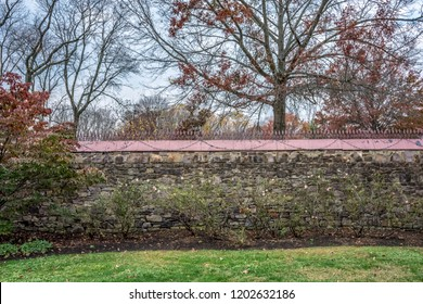 A historic rock wall behind the mansion in Smithville Village in Burlington County New Jersey.