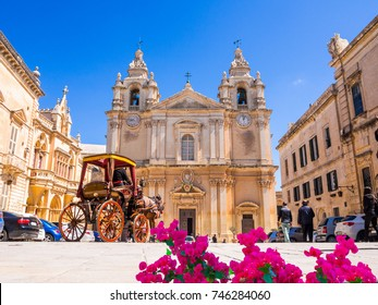 Historic Roman Catholic Cathedral of Saint Paul in main town square of Mdina village in  Malta, Europe