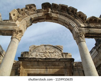 The historic roman gateway arch in Ephesus Turkey