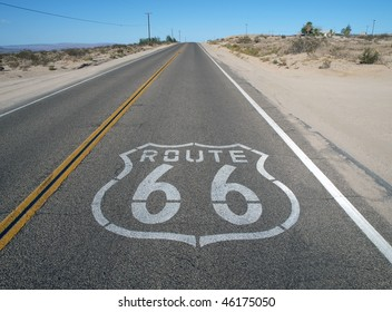 Historic Route 66 crossing California's mojave desert. - Shutterstock ID 46175050