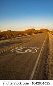 Historic Route 66 crossing the Mojave Desert in California
