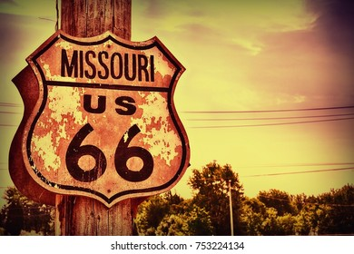 Historic route 66 highway sign in Missouri, USA.