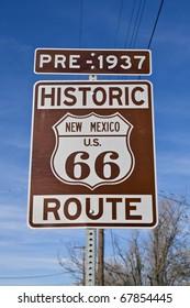Historic Route 66 New Mexico Sign.  Pre-1937.