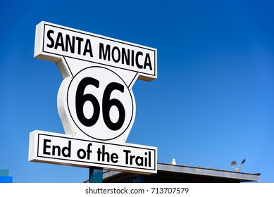 Historic Route 66 sign at Santa Monica California,USA on Aug 09,2017