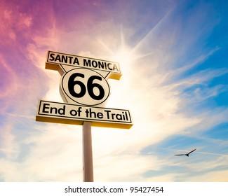 Historic Route 66 sign at Santa Monica California