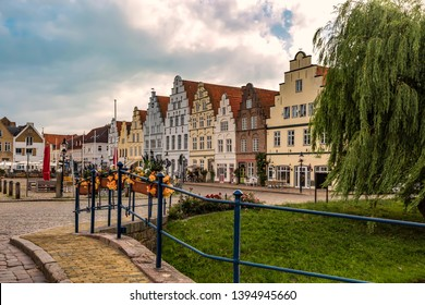 Historic row of houses in the old town of Friedrichstadt