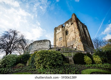 Historic ruins of Guildford Castle, Surrey, Great Britain. England