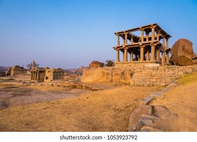 Historic ruins of Hampi on Hemkuta hills from 14th century Vijayanagara empire, currently a UNESCO world heritage site.