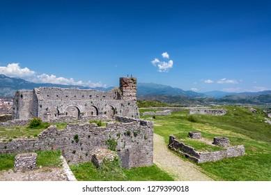 Historic ruins in Rozafa Castle in Shkoder, Albania