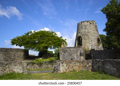 Historic ruins of sugar mill on the tropical plantation