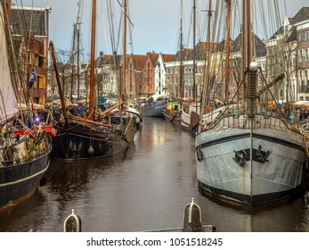 Historic sailing ships at the annual winterwelvaart festival around christmas. reliving the old times on the old quays of Hoge der Aa in Groningen city