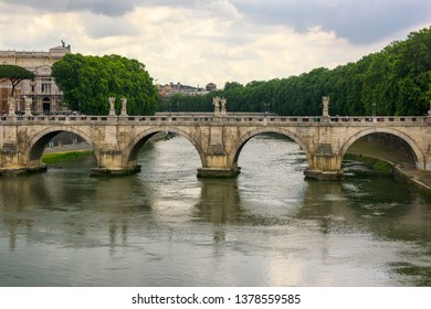 Historic Saint Angelo Bridge in Rome, Italy