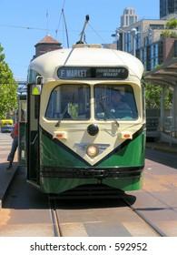 Historic San Francisco Sreet Car (Green) Front View