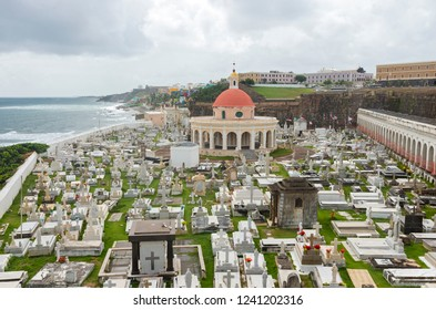 historic santa maria magdalena de pazzis cemetery and city of old san juan puerto rico along atlantic ocean coast