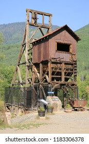 Historic shaft tower in Rico, Colorado, USA