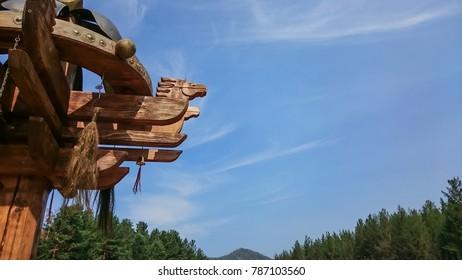 Historic Siberian wooden horse totem,  Republic of Buryatia, Russia.