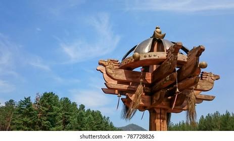 Historic Siberian wooden horse totem, Republic of Buryatia, Russia. The horse totem as symbol of a nomadic people.