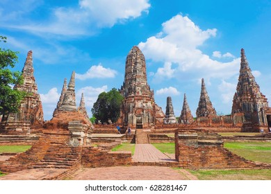 Historic site with blue sky at Wat Yai Chai Mongkol Temple in Ayutthaya Thailand