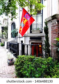 Historic Southern Architecture Low Country Early America 1700s Savannah, Georgia. The southern charm of the deep South begins with the historical landmark architecture.