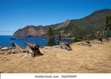 Historic Spanish fort overlooking Cumberland Bay and the town of San Juan Bautista on Robinson Crusoe Island, one of three main islands in the Juan Fernandez Islands 400 miles off the coast of Chile
