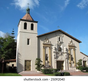 The historic Spanish mission church at Santa Clara, California.