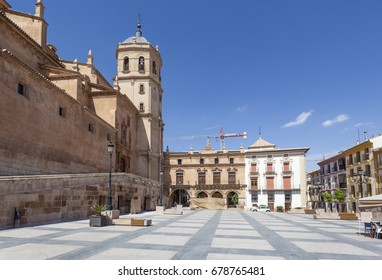 Historic square Plaza de Espana in the old town of Lorca. Murcia Province, Spain