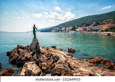 The historic statue of Maiden with the seagull is a symbol, not only of Opatija, but the entire Kvarner region. The statue on Adriatic coast is in the touristic town of Opatija in Croatia, Europe