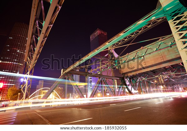 Historic steel jiefang bridge at tianjin bund night