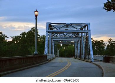 The historic steel truss swing bridge over the Perquiman's River in rural Hertford North Carolina.