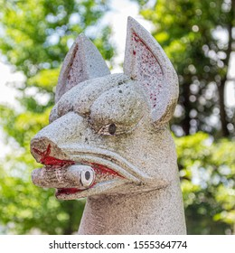 Historic stone statue of a fox (in Japanese, kitsune), said to be the messenger of the god (in Japanese, kami) Inari, at Miumajinja shinto shrine in Kanazawa, Ishikawa Prefecture, Western Japan.