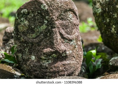 historic stone statues, so called Tikis, on Hiva Oa Island, Marquesas Islands, French Polynesia
