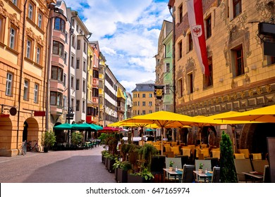 Historic street of Innsbruck view, alpine city in Tirol, region of Austria