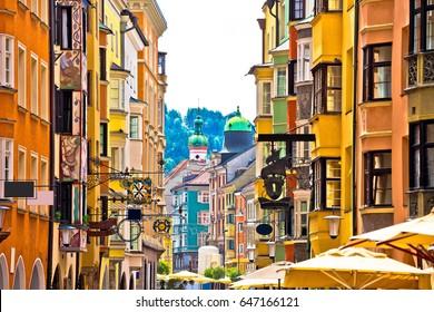 Historic street of Innsbruck view, alpine city in Tirol, region of Austria