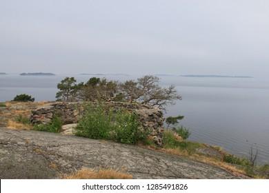 Historic stronghold area on the cliffs Hanko Peninsula Finland