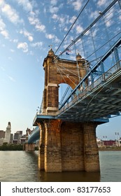 Historic suspension bridge in Cincinnati, Ohio, USA.