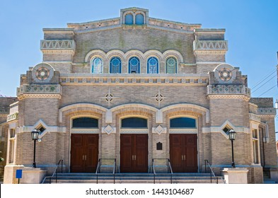historic synagogue building entrance and facade in new orleans louisiana