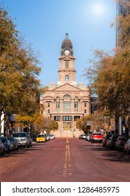 Historic Tarrant County Courthouse in Fort Worth, Texas. Street view on a sunny autumn day.