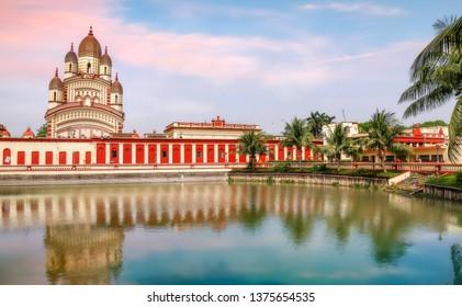 Historic temple of Goddess Kali at Kolkata Dakshineshwar at sunset with scenic landscape